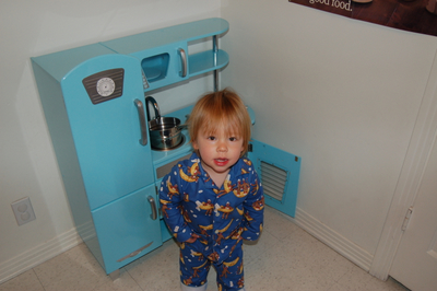 jonah with kitchen set