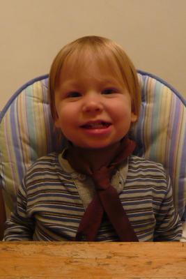 Jonah wearing a tie